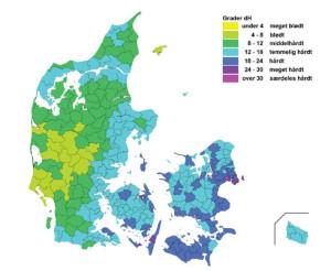 Mapa dureza del agua en Dinamarca
