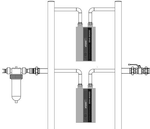 Instalación de dos sistemas antical Dropson en paralelo con colector